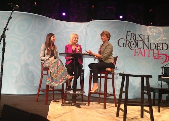 The beautiful Meredith and Stormie during a little Spill the Beans segment of FGF in Montgomery, AL. Check out my gold heels!